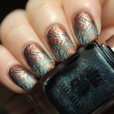 Blue gradient and copper stamping nail art