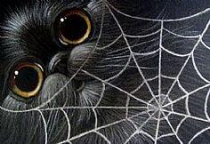Art: BLACK CAT & A SPIDER WEB by Artist Cyra R. Cancel