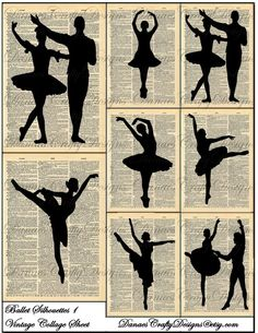 Vintage Ballet Silhouettes 1 on Dictionary by DanaesCraftyDesigns, $4.25