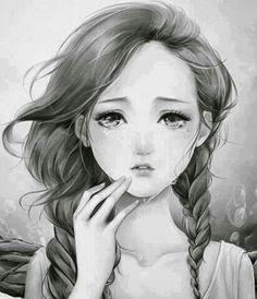 Black and white manga girl. Manga Girl, Manga Anime, Art Manga, Sad Anime, I Love Anime, Manga Drawing, Anime Girls, Estilo Anime, Anime Artwork