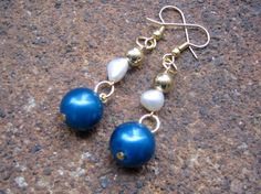 Starry Night Dangle Earrings $9.00 - handmade using recycled vintage pearls in deep blue and white with tiny goldtone metal beads - eco-friendly, elegant, urban chic