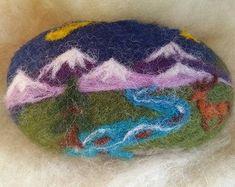 Items similar to Felted Soap, Rocky Mountains, Deer, Stream, Nature. Handmade Gift on Etsy Felted Soap, Wet Felting, Needle Felting, Free Hand Designs, Goat Milk Soap, Felt Art, Felt Crafts, Wool Felt, Arts And Crafts