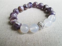 Brilliance - Beaded Stretch Bracelet - Marble Amethyst, White Jade with Silver Pave Ball Stretch Bracelets, Beaded Bracelets, White Jade, Jade Beads, Love And Light, Amethyst, Ink, Jewels, Stone
