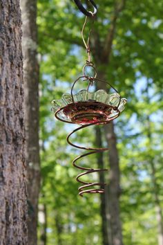 bedspring bird feeder