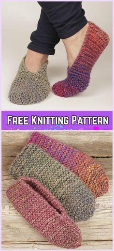 Knit Side Step Garter Stitch Slippers Free Knitting Pattern by Hettie steenkamp