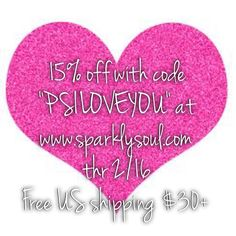 "LIKE if you LOVE as much as we do! #SPARKLYSOULpsiloveyou collection http://shop.sparklysoul.com/PS-I-LOVE-YOU-COLLECTION_c10.htm 15% off your entire order with code ""PSILOVEYOU"" at www.sparklysoul.com through Monday 2/16 11:59pm PST. Does not apply to past orders, wholesale, gift cards or packs! Free US shipping over $30+ after discount applied. Share this photo or promo code w/hashtag #SPARKLYSOULpsiloveyou on any social media OR tag a friend/comment below to enter to win 1 of 2 #SPARKLYSOULpsiloveyou 3packs through 2/16!"