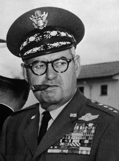 General Curtis Lemay. He was the General who, ordered the fire bombing of Japanese cities, pushed the creation of Strategic Air Command, and he started the use of what is now the M16 rifle. He wanted the weapon for Air Police in the USAF.