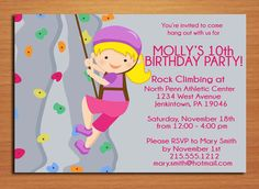 Rock Climbing Girl Birthday Party by Sapphiredigitalworks on Etsy, $15.00