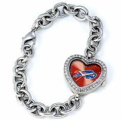 """Game Time Buffalo Bills NFL Ladies Heart Series"""" Watch"""" GTW-NFL-HEA-BUF by Game Time. $59.95. Brand New. The Heart Series features a bold full-colored face with an Offical Team logo. It features a heart shaped metal case with glistening rhinestones surrounding the genuine glass crystal. The bracelet is adjustable and made of stainless steel. The watch has the accuracy and reliabilty of a Japan Quartz movement; and is water resistant to 3 ATM (99 ft) and Game Time's Limi..."""