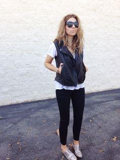 leather vest + silver oxfords