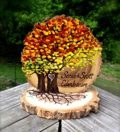 Fall Leaves Wedding Cake Topper, Live Edge Wood Slice, Autumn Colors, Two Trees, Fall Leaves, Fall Foliage, Personalized by JenniferLenoxVT on Etsy https://www.etsy.com/listing/241905162/fall-leaves-wedding-cake-topper-live