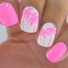Cute Bright neon pink nails with gloss white accent nails & pink free hand palm trees Easy Summer Nail Art #NailArt If you're not comfortable making the palm trees free hand a stamp of palm trees would work just as well