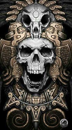 Mayan skull warrior