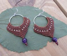 Micro macrame earrings with hand made hoops from white metal and tiny metallic…