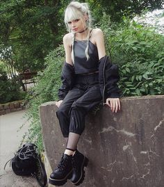 Choker necklace with crop top, tank slapper pants & lace-up platform boots by lol.ivi