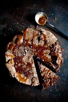 flourless chocOlate cake with salted butter caramel sauce