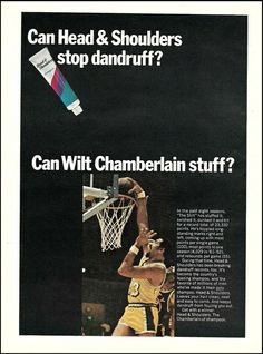 Head And Shoulders Shampoo, Head & Shoulders, Wilt Chamberlain, Baltimore Colts, Nba Basketball, Print Ads, Vintage Advertisements, Trading Cards, Advertising