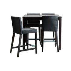 IKEA BJURSTA/ HENRIKSDAL Bar table and 4 bar stools, brown-black,... (800 CAD) ❤ liked on Polyvore featuring home, furniture, tables, interior, mesas, bar table and 4 bar stools, black lacquer furniture, onyx furniture, black bar table and brown furniture