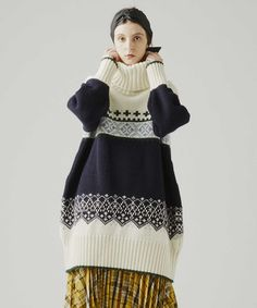 【HugMug 掲載】フェアアイル柄プルオーバーニット Vintage Sweaters Mens, Bored Kids, Intarsia Patterns, Knit Picks, Knit Dress, Knitwear, High Fashion, Textiles, Street Style