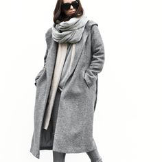 Chic Style - all grey outfit with coat, scarf & jeans