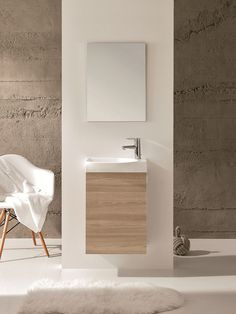 """Eviva Tiny 18"""" Wall Mount Walnut Modern Bathroom Vanity with White Integrated Porcelain Sink"""