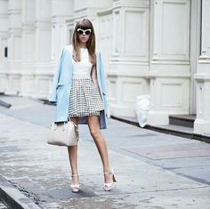 White top, skirt, baby blue jacket givengy heels
