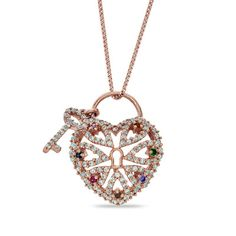 Multi-Gemstone and Lab-Created White Sapphire Heart Key Pendant in Sterling Silver with 14K Rose Gold Plate