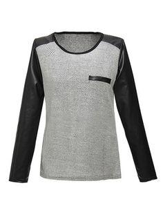 Women Casual Stitching PU Leather Long Sleeve T-Shirt