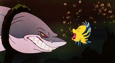 """According to the DVD commentary, the shark that chases Ariel and Flounder at the beginning is named Glut, and he was planned to return for a rematch with Flounder later on.    17 Things You Probably Didn't Know About Disney's """"The Little Mermaid"""""""