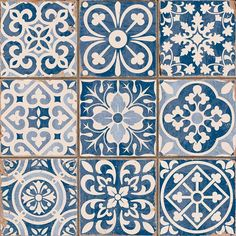 Azulejos Portugueses click now for info. Tile Patterns, Textures Patterns, Print Patterns, Tile Design, Pattern Design, Deco Design, Blue Tiles, White Tiles, Wall And Floor Tiles