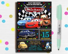 This item is unavailable Disney Cars Party, Disney Cars Birthday, Cars Birthday Parties, Car Party, Third Birthday, Boy Birthday, Birthday Cards, Birthday Ideas, Cars Birthday Invitations