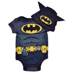 Newborn Baby Boys Batman One-Piece Bodysuit & Cap