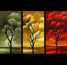 Modern landscape paintings on canvas. Seasons is a hand-painted artwork, created by the artist Osnat Tzadok. An online art gallery of modern paintings - artwork id Modern Canvas Art, Canvas Painting Landscape, Online Art Gallery, Painting & Drawing, Amazing Art, Pop Art, Art Photography, Fine Art, Abstract Art