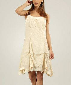 Another great find on #zulily! Cream Gathered Sleeveless Dress by L33 by Virginie&Moi #zulilyfinds