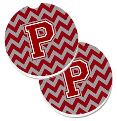 Letter P Chevron Maroon and White Set of 2 Cup Holder Car Coasters CJ1049-PCARC