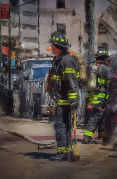 Fire fighter Painting Canvas FDNY by ReburnDesigns on Etsy