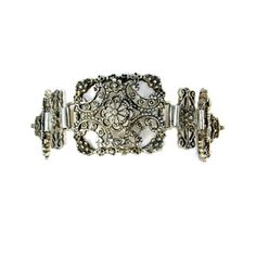 800 Silver Detailed Linked Panels Bracelet  #vintagejewelry