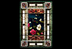 John La Farge, Hollyhocks et Morning Glories, ca.  1884, le vitrail opalescent, le plomb est venu et le châssis en bois, 45 x 31 1/4 x 7 po, cadeau de M. et Mme Theodore T. Newbold à la mémoire de Louis I. Kahn, 1976.7.1, Photo: PAFA , Barbara Katus / Brian van Camerik