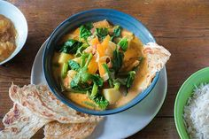 Spring vegetable curry recipe, Bite – visit Eat Well for New Zealand recipes using local ingredients - Eat Well (formerly Bite) Curry Recipes, Vegetarian Recipes, Healthy Recipes, Vegan Meals, Vegan Food, Tomato Vegetable, Vegetable Curry, Thai Green Curry Paste, Main Course Dishes