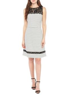 1e8d858ab4b7 Taylor Women s Sleeveless Lace Yoke Striped Fit-And-Flare Dress -  Ivoryblack - 10