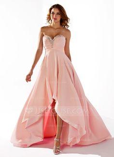 Empire Sweetheart Asymmetrical Ruffle Beading Sequins Zipper Up Strapless Sleeveless Pearl Pink Spring Summer Fall General Plus Chiffon Prom Dress