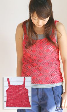 Crochet Lacy Camisole - free diagram pattern (Japanese)