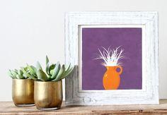 פרחים בכד - הדפס אכותי בצבע סגול וכתום | My Art | מרמלדה מרקט