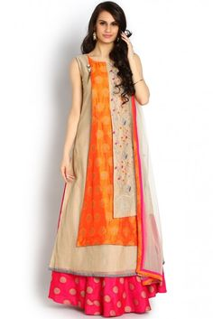 Soch Beige and Orange Anarkali Salwar Suit - SAMY CD 21003 - Amaya Salwar - Salwar-Kameez