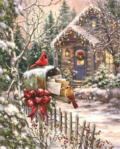 Cardinals at the Mailbox - Boxed Christmas Cards Boxed Christmas Cards, Christmas Past, Christmas Printables, Winter Christmas, Christmas Crafts, Old Time Christmas, Illustration Noel, Christmas Illustration, Illustrations