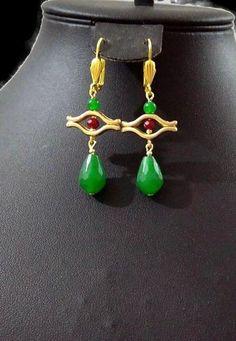 Earrings, Turquoise stone earrings, Jade stone earrings, gold plated earrings, gift earrings, women earring by SERMINCEJEWELRY on Etsy