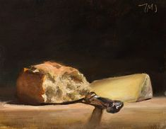 daily painting titled Still life with Bread, cheese and knife - Julian Merrow-Smith Bread Art, Food Painting, Painting Tips, Painting Art, Paintings, Color Script, Still Life Oil Painting, Still Life Art, Color Of Life