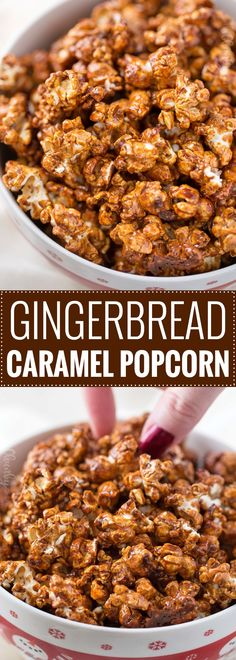 Gingerbread Caramel Corn - classic caramel corn combines with gingerbread spices in the best caramel popcorn EVER! You'll love snacking on this sweet and crunchy popcorn! : The Chunky Chef Marshmallows, Baby Food Recipes, Snack Recipes, Food Baby, Baby Foods, Fudge, Flavored Popcorn, Homemade Popcorn, Homemade Baby