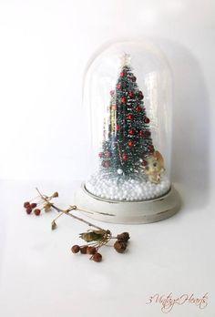 Vintage Glass Cloche Snow GLobe. Vintage Assemblage Christmas