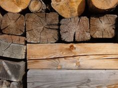 Stacked wood in Verand, near Courmayeur, Monte Bianco, Val D'Aosta, Italy